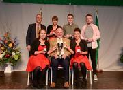 14 April 2018; Seán O'Regan, Claire O'Regan, Sinéad O'Regan, Ciara O'Gorman and Danny Collins from Carbery Rangers, Cork, being presented with the trophy by Uachtarán Chumann Lúthchleas Gael John Horan, bottom row, centre, and Antóin Mac Gabhann, Cathaoirleach, Coiste Náisúnta Scór, back row, left, after winning the the Bailéad Ghrúpa category during the All-Ireland Scór Sinsir Finals 2018 at the Clayton Hotel Ballroom & Knocknarea Arena in Sligo IT, Sligo. Photo by Eóin Noonan/Sportsfile