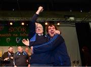 14 April 2018; Christy Kelly, left, from Feenagh/Kilmeedy, Limerick, celebrates with his nephew David Kelly after winning the Léiriú Stáitse category during the All-Ireland Scór Sinsir Finals 2018 at the Clayton Hotel Ballroom & Knocknarea Arena in Sligo IT, Sligo. Photo by Eóin Noonan/Sportsfile