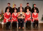 14 April 2018; Davog Frayne, James Frayne, Thomas Doherty, Sean Frayne, Rachel Lyons, Aine Duffy, Eleanor Harrison and Orna Hession from Aghamore, Mayo, being presented with the trophy by Uachtarán Chumann Lúthchleas Gael John Horan, front row, centre, and Antóin Mac Gabhann, Cathaoirleach, Coiste Náisúnta Scór, back row, centre, after winning the Rince Seit category during the All-Ireland Scór Sinsir Finals 2018 at the Clayton Hotel Ballroom & Knocknarea Arena in Sligo IT, Sligo. Photo by Eóin Noonan/Sportsfile