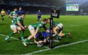 14 April 2018; Barry Daly of Leinster scores his side's second try during the Guinness PRO14 Round 20 match between Leinster and Benetton Rugby at the RDS Arena in Dublin. Photo by Brendan Moran/Sportsfile