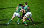 14 April 2018; Noel Reid of Leinster is tackled by Tommaso Allan, left, and Alberto Sgarbi of Benetton Rugby during the Guinness PRO14 Round 20 match between Leinster and Benetton Rugby at the RDS Arena in Dublin. Photo by Brendan Moran/Sportsfile