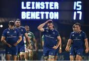 14 April 2018; Leinster players following their side's defeat after the Guinness PRO14 Round 20 match between Leinster and Benetton Rugby at the RDS Arena in Dublin. Photo by Seb Daly/Sportsfile