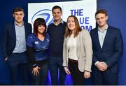 14 April 2018; Leinster players Garry Ringrose, Jonathan Sexton and Cathal Marsh with supporters in the Blue Room prior to the Guinness PRO14 Round 20 match between Leinster and Benetton Rugby at the RDS Arena in Ballsbridge, Dublin. Photo by Seb Daly/Sportsfile