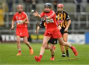 8 April 2018; Pamela Mackey of Cork in action against Meighan Farrell of Kilkenny during the Littlewoods Ireland Camogie League Division 1 Final match between Kilkenny and Cork at Nowlan Park in Kilkenny. Photo by Piaras Ó Mídheach/Sportsfile