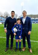 14 April 2018; Mascot Kevin Howard, from Malahide, Dublin, with Leinster players Rob Kearney and James Lowe prior to the Guinness PRO14 Round 20 match between Leinster and Benetton Rugby at the RDS Arena in Ballsbridge, Dublin. Photo by Brendan Moran/Sportsfile