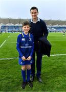 14 April 2018; Mascot Kevin Howard, from Malahide, Dublin, with Leinster's Jonathan Sexton prior to the Guinness PRO14 Round 20 match between Leinster and Benetton Rugby at the RDS Arena in Ballsbridge, Dublin. Photo by Brendan Moran/Sportsfile