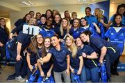 14 April 2018; The Leinster squad take a selfie after being presented with their caps and jerseys at the Leinster Rugby Women's Cap Presentation & Volunteer of the Year night hosted by Bank of Ireland in Dublin. Photo by Brendan Moran/Sportsfile