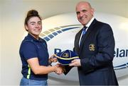 14 April 2018; Aimee Clarke of Railway Union RFC, Dublin, is presented with her Leinster cap by Leinster Branch President Niall Rynne at the Leinster Rugby Women's Cap Presentation & Volunteer of the Year night hosted by Bank of Ireland in Dublin. Photo by Brendan Moran/Sportsfile