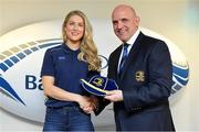 14 April 2018; Megan Williams of Old Belvedere RFC, Dublin, is presented with her Leinster cap by Leinster Branch President Niall Rynne at the Leinster Rugby Women's Cap Presentation & Volunteer of the Year night hosted by Bank of Ireland in Dublin. Photo by Brendan Moran/Sportsfile