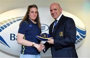 14 April 2018; Meg Kendall of Railway Union RFC, Dublin, is presented with her Leinster cap by Leinster Branch President Niall Rynne at the Leinster Rugby Women's Cap Presentation & Volunteer of the Year night hosted by Bank of Ireland in Dublin. Photo by Brendan Moran/Sportsfile