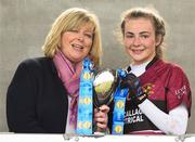 14 April 2018; Marie Hickey, Ladies Gaelic Football Association President presents the Senior A cup to the Niamh Keenaghan captain of Loreto, Cavan after the Lidl All Ireland Post Primary School Senior A Final match between Loreto, Clonmel, Tipperary and Loreto, Cavan at Kinnegad in County Westmeath. Photo by Matt Browne/Sportsfile