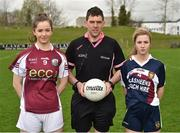 15 April 2018; Referee Eamonn Moran with captains Maeve Flanagan of Glenamaddy, Galway, left, and Aoife Maher of Presentation, Thurles during the Lidl All Ireland Post Primary School Senior B Final match between Glenamaddy, Galway and Presentation, Thurles, Tipperary at Duggan Park in Ballinasloe, Co Galway. Photo by Seb Daly/Sportsfile