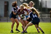 15 April 2018; Niamh Collins of Glenamaddy, Galway in action against Róisín Daly, left, Marie Creedon, centre, and Ellen Moore of Presentation, Thurles during the Lidl All Ireland Post Primary School Senior B Final match between Glenamaddy, Galway and Presentation, Thurles, Tipperary at Duggan Park in Ballinasloe, Co Galway. Photo by Seb Daly/Sportsfile
