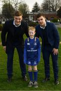 14 April 2018; Matchday mascot 8 year old Callum Donohue, from Lucan, Dublin, with Leinster players Josh van der Flier and Luke McGrath at the Guinness PRO14 Round 20 match between Leinster and Benetton Rugby at the RDS Arena in Ballsbridge, Dublin. Photo by Ramsey Cardy/Sportsfile