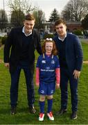 14 April 2018; Matchday mascot 7 year old Laoise Ní Bhuachalla, from Kilmacud, Dublin, with Leinster players Josh van der Flier and Luke McGrath at the Guinness PRO14 Round 20 match between Leinster and Benetton Rugby at the RDS Arena in Ballsbridge, Dublin. Photo by Ramsey Cardy/Sportsfile