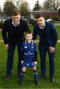 14 April 2018; Matchday mascot 6 year old Darragh O'Malley, from Ranelagh, Dublin, with Leinster players Josh van der Flier and Luke McGrath at the Guinness PRO14 Round 20 match between Leinster and Benetton Rugby at the RDS Arena in Ballsbridge, Dublin. Photo by Ramsey Cardy/Sportsfile