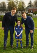 14 April 2018; Matchday mascot 7 year old Eimear Tracey, from Firhouse, Dublin, with Leinster players Josh van der Flier and Luke McGrath at the Guinness PRO14 Round 20 match between Leinster and Benetton Rugby at the RDS Arena in Ballsbridge, Dublin. Photo by Ramsey Cardy/Sportsfile