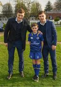 14 April 2018; Matchday mascot 11 year old Patrick McDonnell, from Coolmine, Dublin, with Leinster players Josh van der Flier and Luke McGrath at the Guinness PRO14 Round 20 match between Leinster and Benetton Rugby at the RDS Arena in Ballsbridge, Dublin. Photo by Ramsey Cardy/Sportsfile