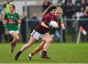 14 April 2018; Muireann Cusack of Loreto, Cavan in action against Veerle Van Der Wal of Loreto, Clonmel during the Lidl All Ireland Post Primary School Senior A Final match between Loreto, Clonmel, Tipperary and Loreto, Cavan at Kinnegad in County Westmeath. Photo by Matt Browne/Sportsfile