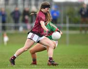 14 April 2018; Muireann Cusack of Loreto, Cavan in action against Sadhbh Hallinan of Loreto, Clonmel during the Lidl All Ireland Post Primary School Senior A Final match between Loreto, Clonmel, Tipperary and Loreto, Cavan at Kinnegad in County Westmeath. Photo by Matt Browne/Sportsfile