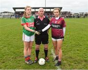 14 April 2018; Referee Barry Redmond with Cora Maher of Loreto, Clonmel and Niamh Keenaghan of Loreto, Cavan before the Lidl All Ireland Post Primary School Senior A Final match between Loreto, Clonmel, Tipperary and Loreto, Cavan at Kinnegad in County Westmeath. Photo by Matt Browne/Sportsfile