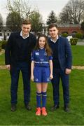14 April 2018; Matchday mascot 11 year old Edie Farrell, from Goatstown, Dublin, with Leinster players Josh van der Flier and Luke McGrath at the Guinness PRO14 Round 20 match between Leinster and Benetton Rugby at the RDS Arena in Ballsbridge, Dublin. Photo by Ramsey Cardy/Sportsfile