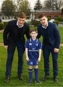 14 April 2018; Matchday mascot 6 year old Nick Boland, from Kiltegan, Wicklow, with Leinster players Josh van der Flier and Luke McGrath at the Guinness PRO14 Round 20 match between Leinster and Benetton Rugby at the RDS Arena in Ballsbridge, Dublin. Photo by Ramsey Cardy/Sportsfile