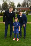 14 April 2018; Matchday mascot 5 year old Bobby Kelly-Flynn, from Leopardstown, Dublin, with Leinster players Josh van der Flier and Luke McGrath at the Guinness PRO14 Round 20 match between Leinster and Benetton Rugby at the RDS Arena in Ballsbridge, Dublin. Photo by Ramsey Cardy/Sportsfile
