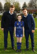 14 April 2018; Matchday mascot 10 year old Ava Boland, from Kiltegan, Wicklow, with Leinster players Josh van der Flier and Luke McGrath at the Guinness PRO14 Round 20 match between Leinster and Benetton Rugby at the RDS Arena in Ballsbridge, Dublin. Photo by Ramsey Cardy/Sportsfile