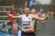 15 April 2018; Oliver Lockley of England crosses the line to win the Great Ireland Run and AAI National 10k at the Phoenix Park in Dublin. Photo by David Fitzgerald/Sportsfile