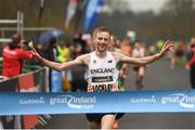 15 April 2018; Oliver Lockley of England on his way to winning the Great Ireland Run and AAI National 10k at the Phoenix Park in Dublin. Photo by David Fitzgerald/Sportsfile