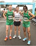 15 April 2018; First place, Oliver Lockley, centre, second place, Brian Maher, left, and third place, Mick Clohisey following the Great Ireland Run and AAI National 10k at the Phoenix Park in Dublin. Photo by David Fitzgerald/Sportsfile