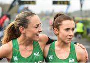 15 April 2018; Second place woman, Kerry O'Flaherty of Newcastle & District AC, left, and first place woman, Shona Heaslip of An Riocht A.C. following the Great Ireland Run and AAI National 10k at the Phoenix Park in Dublin. Photo by David Fitzgerald/Sportsfile