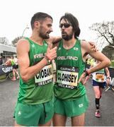 15 April 2018; Sergiu Ciobanu of Clonliffe Harriers, left, and Mick Clohisey of Raheny Shamrocks A.C. following the Great Ireland Run and AAI National 10k at the Phoenix Park in Dublin. Photo by David Fitzgerald/Sportsfile