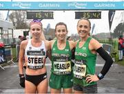 15 April 2018; First place woman, Shona Heaslip, centre, second place woman, Kerry O'Flaherty of Newcastle & District AC, right, and thid place woman, Gemma Steel following the Great Ireland Run and AAI National 10k at the Phoenix Park in Dublin. Photo by David Fitzgerald/Sportsfile
