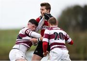 15 April 2018; Cillian Redmond of Tullow is tackled by Shane Farrar of Wicklow during the Bank of Ireland Provincial Towns Cup Semi-Final match between Tullow RFC and Wicklow RFC at Cill Dara RFC in Kildare. Photo by Eóin Noonan/Sportsfile