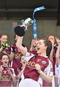 15 April 2018; Glenamaddy, Galway captain Maeve Flanagan lifts the trophy following her side's victory during the Lidl All Ireland Post Primary School Senior B Final match between Glenamaddy, Galway and Presentation, Thurles, Tipperary at Duggan Park in Ballinasloe, Co Galway. Photo by Seb Daly/Sportsfile