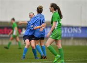15 April 2018; UCD Waves's Avril Brierly, right, celebrates scoring her side's first goal with team-mate Kerri Letmon during the Continental Tyres Women's National League match between Limerick and UCD Waves at Markets Field in Garryowen, Co Limerick. Photo by Piaras Ó Mídheach/Sportsfile