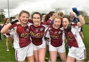 15 April 2018; Glenamaddy, Galway players, from left, Lynsey Noone, Evelyn Flanagan, Emma Moran and Aisling Ward celebrate following their side's victory during the Lidl All Ireland Post Primary School Senior B Final match between Glenamaddy, Galway and Presentation, Thurles, Tipperary at Duggan Park in Ballinasloe, Co Galway. Photo by Seb Daly/Sportsfile