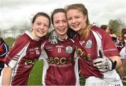 15 April 2018; Glenamaddy, Galway players, from left, Eva Noone, Hannah Noone and Maria Lyons celebrate following their side's victory during the Lidl All Ireland Post Primary School Senior B Final match between Glenamaddy, Galway and Presentation, Thurles, Tipperary at Duggan Park in Ballinasloe, Co Galway. Photo by Seb Daly/Sportsfile