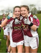 15 April 2018; Glenamaddy, Galway players Hannah Noone, left, and Lynsey Noone celebrate following their side's victory during the Lidl All Ireland Post Primary School Senior B Final match between Glenamaddy, Galway and Presentation, Thurles, Tipperary at Duggan Park in Ballinasloe, Co Galway. Photo by Seb Daly/Sportsfile