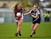 15 April 2018; Ailish Morrissey of Glenamaddy, Galway in action against Aoife Finlay of Presentation, Thurles during the Lidl All Ireland Post Primary School Senior B Final match between Glenamaddy, Galway and Presentation, Thurles, Tipperary at Duggan Park in Ballinasloe, Co Galway. Photo by Seb Daly/Sportsfile