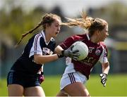 15 April 2018; Lynsey Noone of Glenamaddy, Galway in action against Aoife Finlay of Presentation, Thurles during the Lidl All Ireland Post Primary School Senior B Final match between Glenamaddy, Galway and Presentation, Thurles, Tipperary at Duggan Park in Ballinasloe, Co Galway. Photo by Seb Daly/Sportsfile
