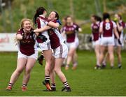 15 April 2018; Glenamaddy, Galway players, from left, Emma Moran, Aisling Ward and Leah Pettit celebrate at the final whistle following their side's victory during the Lidl All Ireland Post Primary School Senior B Final match between Glenamaddy, Galway and Presentation, Thurles, Tipperary at Duggan Park in Ballinasloe, Co Galway. Photo by Seb Daly/Sportsfile