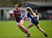15 April 2018; Ailish Morrissey of Glenamaddy, Galway in action against Ellen Moore of Presentation, Thurles during the Lidl All Ireland Post Primary School Senior B Final match between Glenamaddy, Galway and Presentation, Thurles, Tipperary at Duggan Park in Ballinasloe, Co Galway. Photo by Seb Daly/Sportsfile