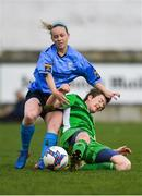 15 April 2018; Kerri Letmon of UCD Waves in action against Sylvia Gee of Limerick during the Continental Tyres Women's National League match between Limerick and UCD Waves at Markets Field in Garryowen, Co Limerick. Photo by Piaras Ó Mídheach/Sportsfile