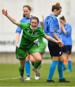 15 April 2018; Rebecca Horgan of Limerick celebrates scoring her side's first goal during the Continental Tyres Women's National League match between Limerick and UCD Waves at Markets Field in Garryowen, Co Limerick. Photo by Piaras Ó Mídheach/Sportsfile