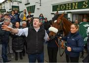 15 April 2018; The winner of the 2018 Randox Health Aintree Grand National Tiger Roll outside Shaw's pub in the village of Summerhill in County Meath with trainer Gordon Elliott and groom Louise Dunne. Photo by Brendan Moran/Sportsfile