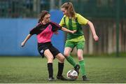 15 April 2018; Fiona Sholvin of Donegal Women's League in action against Leah Farrell of Metropolitan Girls League during the FAI Women's U18 Inter-League Cup Final match between Donegal's Women's League and Metropolitan Girls League at Monaghan United in Gortakeegan, Co. Monaghan. Photo by Philip Fitzpatrick/Sportsfile