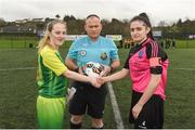 15 April 2018; Danielle McDevitt of Donegal Women's League, left, and Kerri Duffy of Metropolitan Girls League with Referee Brendan Gillespie prior to kick off of the FAI Women's U18 Inter-League Cup Final match between Donegal Women's League and Metropolitan Girls League at Monaghan United in Gortakeegan, Co. Monaghan. Photo by Philip Fitzpatrick/Sportsfile